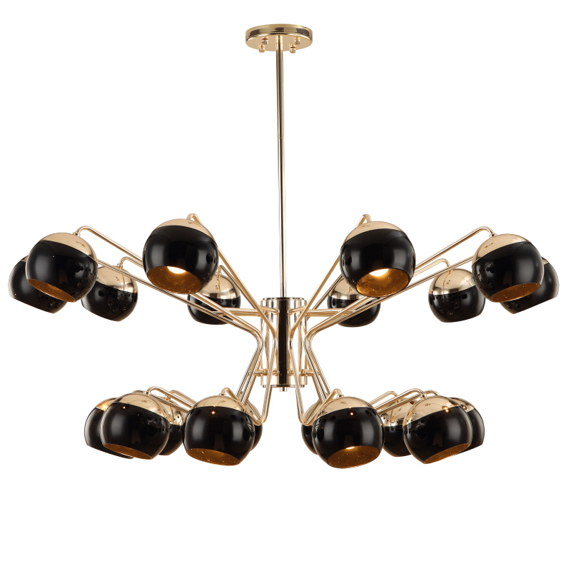 Nordic creative 16 head led chandelier light Toolery black modern iron body Hanging lamp villa E27 lamp pure white 6000K AC220V 45 head nordic creative circle dia 95cm led chandelier light round bubble glass lampshade villa g4 lamp 3w ac220v free shipping