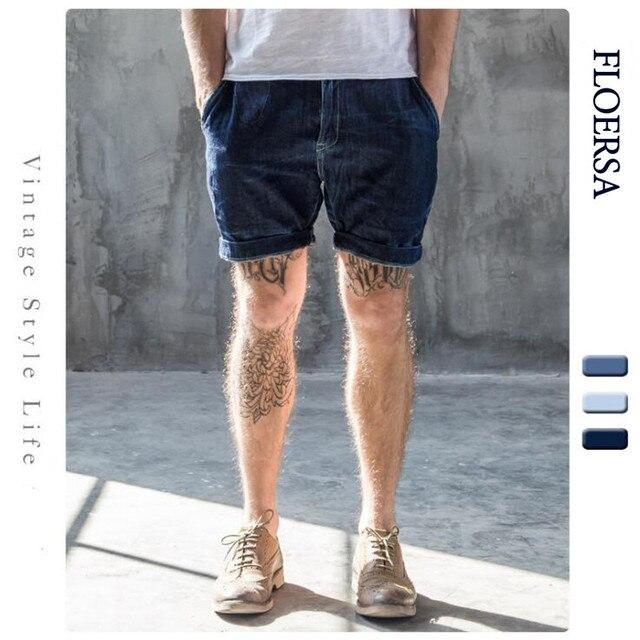 Floersa New Brand Summer Mens Shorts Fashion Denim Shorts Washed