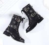 Новинка 2018, модные женские кожаные ботинки с пряжками, женские байкерские ботинки на плоской подошве с заклепками, ботинки в стиле панк на ш