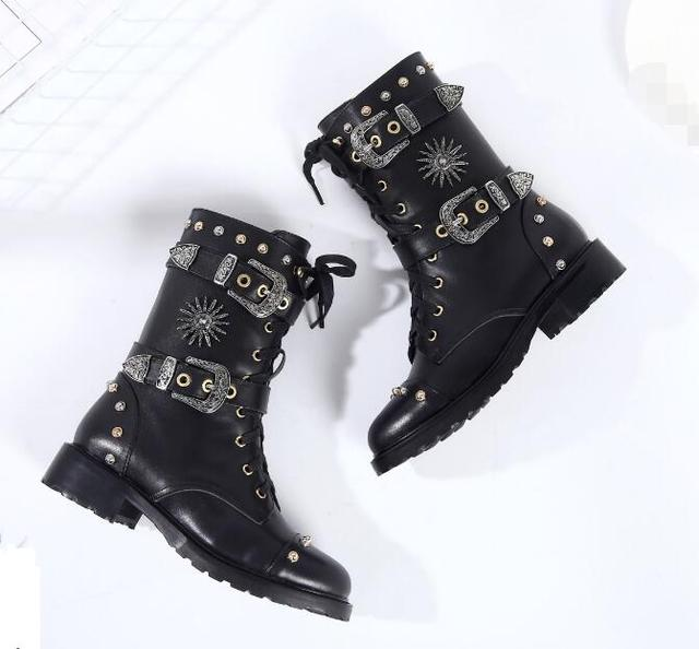 904fbb187c7 2018 New Fashion Women Blakc Leather Buckles Boots Studs Cover Ladies Flat  Motorcycle Boots Punk Style Lace Up Riding Boots-in Mid-Calf Boots from ...