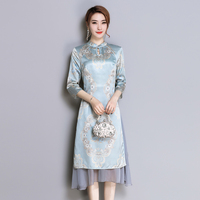 S 4XL Plus Size Party Elegant Beautifully Floral Printed Silk Cheongsam Dress High Quality Gown 2018