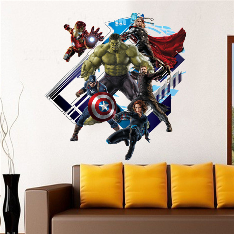 60*60CM The Superhero New Avengers 4 Endgame DIY 3D Sticker Children's Room Decoration Moved PVC Stickers Cartoon Waterproof