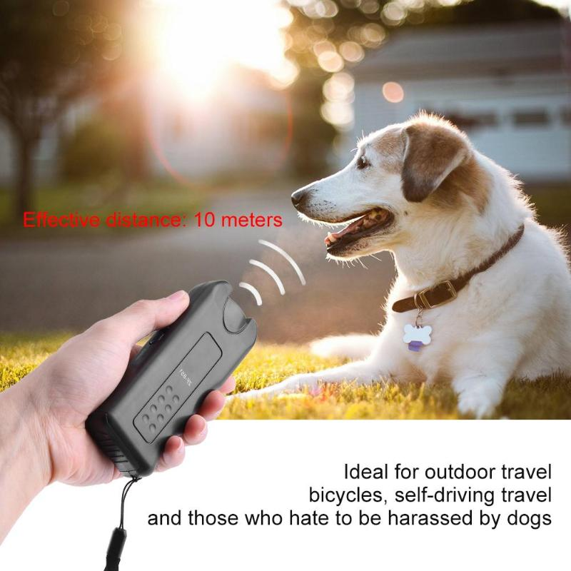 Black Trainer Pet Double Heads Repeller Training Device Ultrasonic Dog Chaser Aggressive Attack Repeller Trainer LED Flashlight