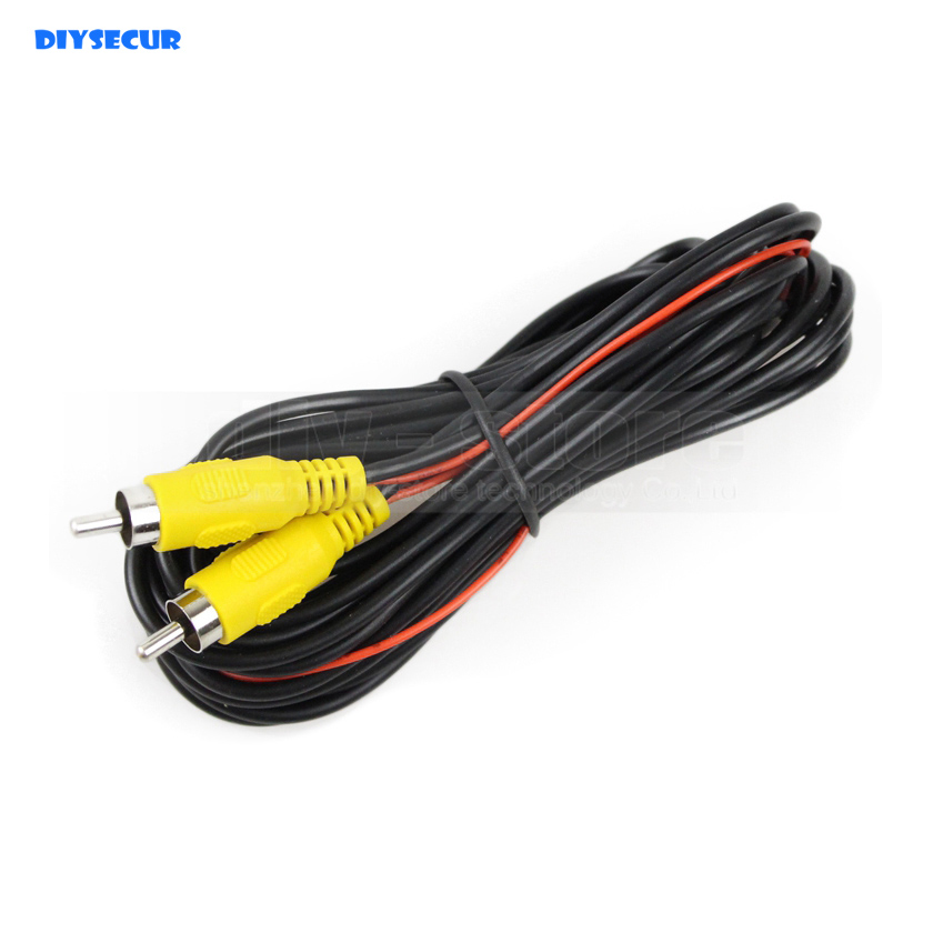 Купить с кэшбэком DIYSECUR 5m/10m/15m/20 meters AV RCA Extension Cable / Cord Video Cable for Rear View Camera and Monitor