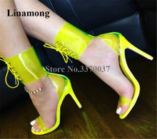 Summer New Fashion Women PVC Stiletto Heel Gladiator Sandals Neon Yellow Transparent Ankle Wrap Lace-up High Shoes