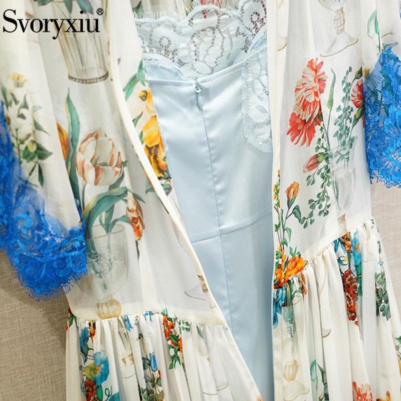 Patchwork Longues De Impression Soie Élégant Robes En Gamme Charme Haut Multi Svoryxiu Piste Dentelle Femmes Bleu Vase Bikinis wcfZqSA1p