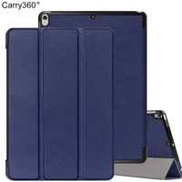Carry360 Case for New iPad Pro 10.5 2017 , PU Leather Plastic Shell Ultra Slim Trifold Smart Magnet Stand Protector Cover
