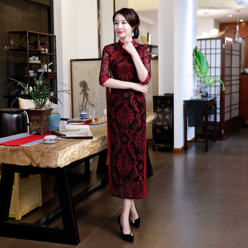 New Burgundy Chinese Traditional Women Lace Qipao Classic Long Vintage Gown Cheongsam Sexy Dress Plus Size