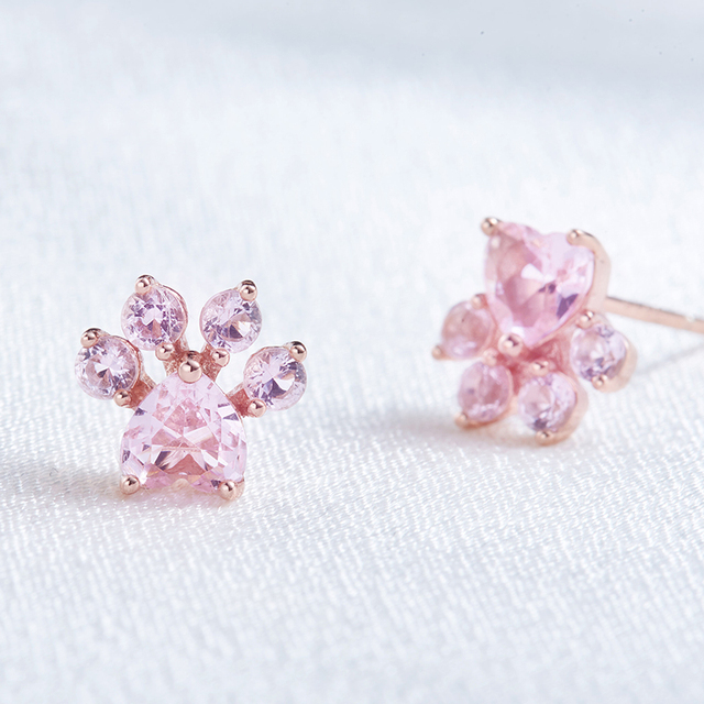 Solid 925 Sterling Silver Pink Cat Paw Stud Earrings 2