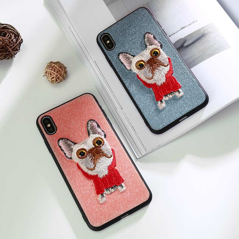 lovely phone case For iPhone 7 6 8 Canvas embroidery fashion protective for X XS XSMax XR Ultra-thin Cartoon shell