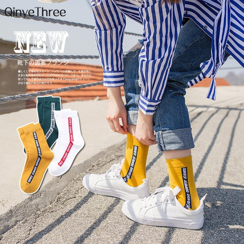 Summer Autumn Letter Patterned Art   Socks   Women Skateboard Harajuku   Socks   Fashion Soft Breathable Cotton   Socks   Hip hop Funny Sox
