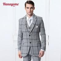 Wool 100% Grey gentleman custom made Men's tailor British grid leisure suit Blazer suits for men 3 piece (Jacket+Pants+Vest)