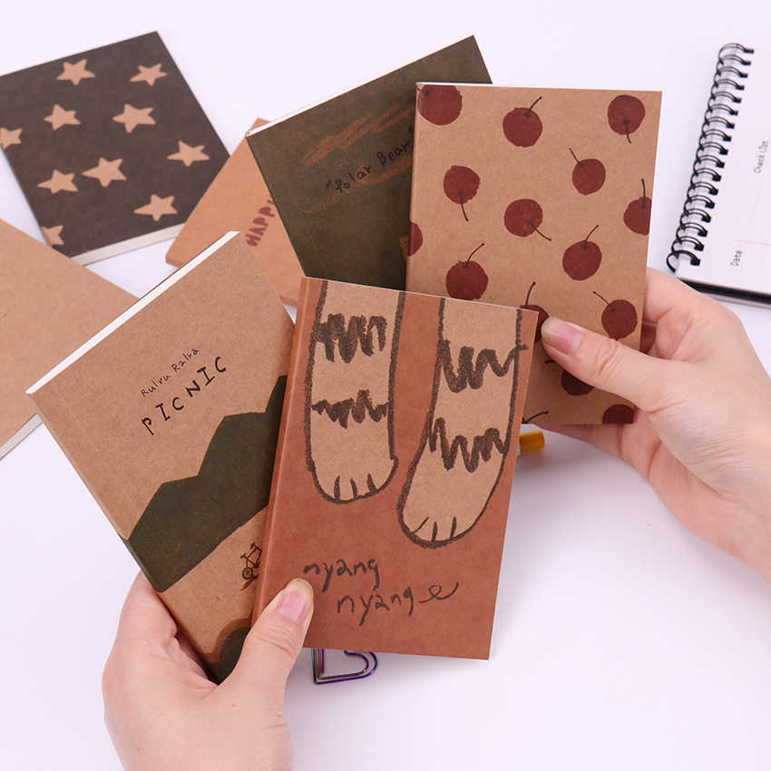 40Sheets/1PC Mini Cute Notebook Retro Painting Diary Day Planner Journal Record Blank Page Note Book Office School Supplies
