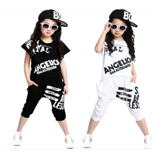 5287451a5 Summer Girls Clothing Sets Cute Kids Girls Hip Hop Costume Outfits ...