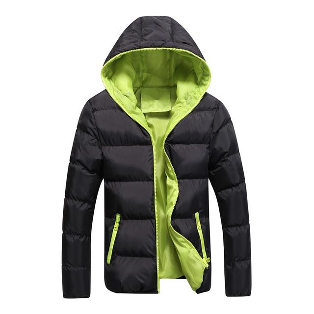 Frío invierno hombre parka algodón color de contrato más el tamaño m-3xl de los hombres de la chaqueta con capucha negro/orange/azul oscuro