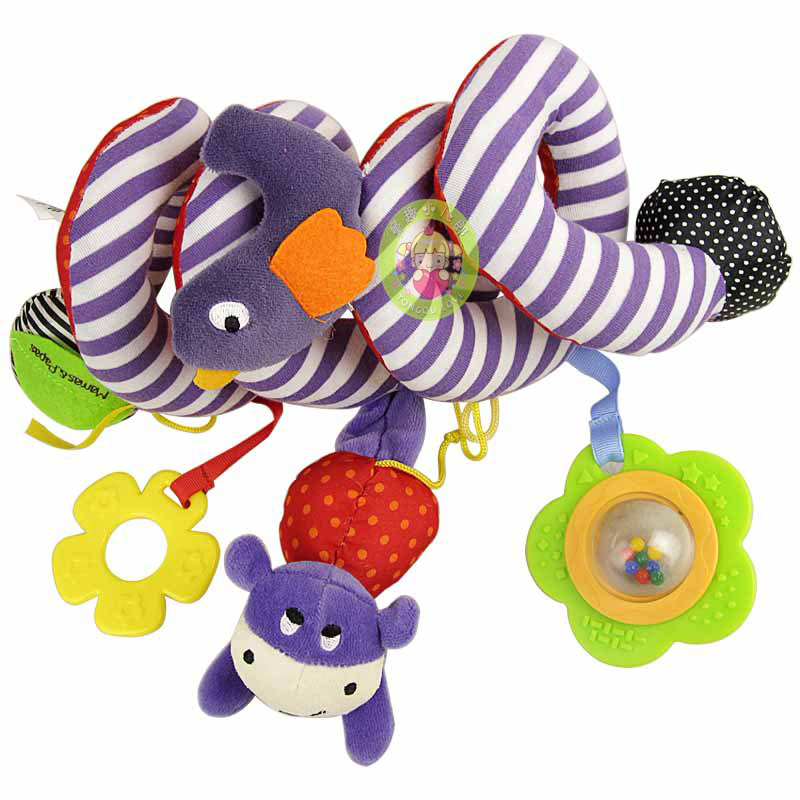 Nieuwe leuke mooie baby bed rond / kinderwagen opknoping poppen, bel / rammelaar mobiele muzikale pluche baby, speelgoed geschenken voor kinderen wj140
