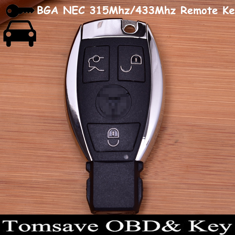 Original Size 3 Buttons BGA NEC Remote Key 315MHZ/433MHZ With NEC Chip for Benz Nec Key BGA Key (2005-2008) VVDI2 BGA Sytle new updating smart key for benz 3 button 433mhz 315mhz easy to create a new key for mecerdes good quality