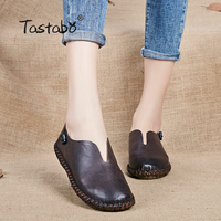 Tastabo Woman Genuine Leather Flat Shoes Fashion Hand-sewn Leather Loafers Female Casual Shoes Women Flats 2017 Mom Shoes