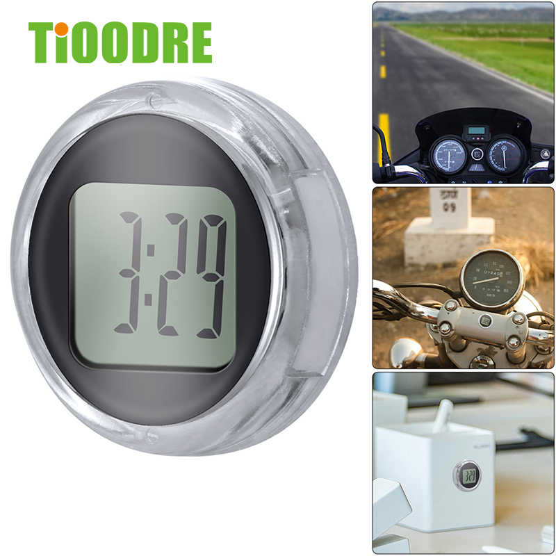 TiOODRE New Mini Precision Motorcycle Clocks Watch Waterproof Stick-On Motorbike Mount Watch Moto Digital Clock With Stopwatch