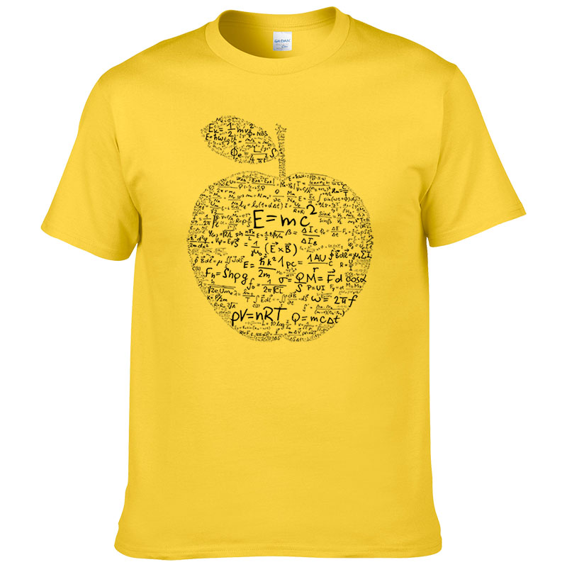Summer apple mathematical formula t shirt men Equation formula printed T-shirt Cotton Tees #166