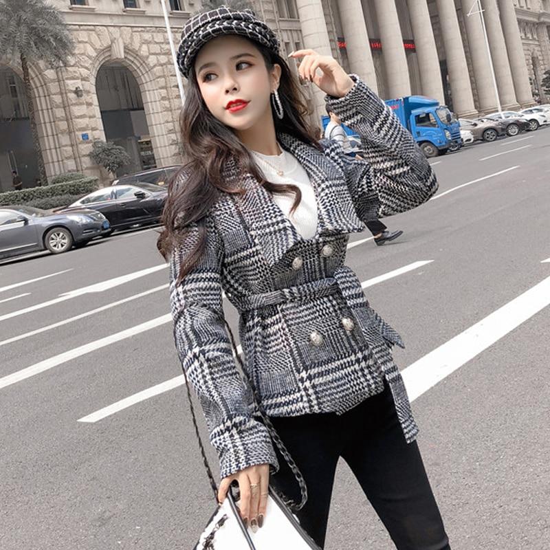 Fashion double breasted plaid bandage blazer feminino Long sleeve office ladies blazer Casual autumn winter jacket blazer female