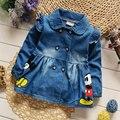 2017 Весна Осень Джинсовой Траншеи Пальто для Девочек Наряд Спортивные куртки Младенческая Baby Ткань Ребенка Детская Одежда Случайный Пальто Новый