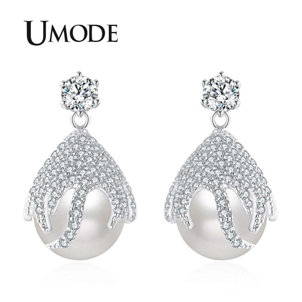 UMODE Korean Elegant Dangle Pearl White Rhinestone Drop Earrings for Women Luxury Fashion Jewelry oorbellen hangers UE0453