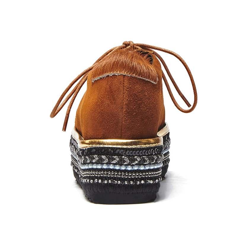 Crin Chaussures Lacent Semelles Med Luxe Femmes Pompes Carré Bout De Lenkisen Talons L29 Main Heavy Solide Européenne Style Compensées chocolat Noir dqwST01
