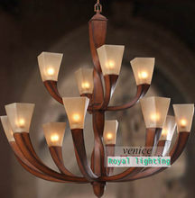 109cm/43inches Retro red wooden chandelier Resin arms led large glass chandelier American vintage lamp hotel villa light lustres(China)