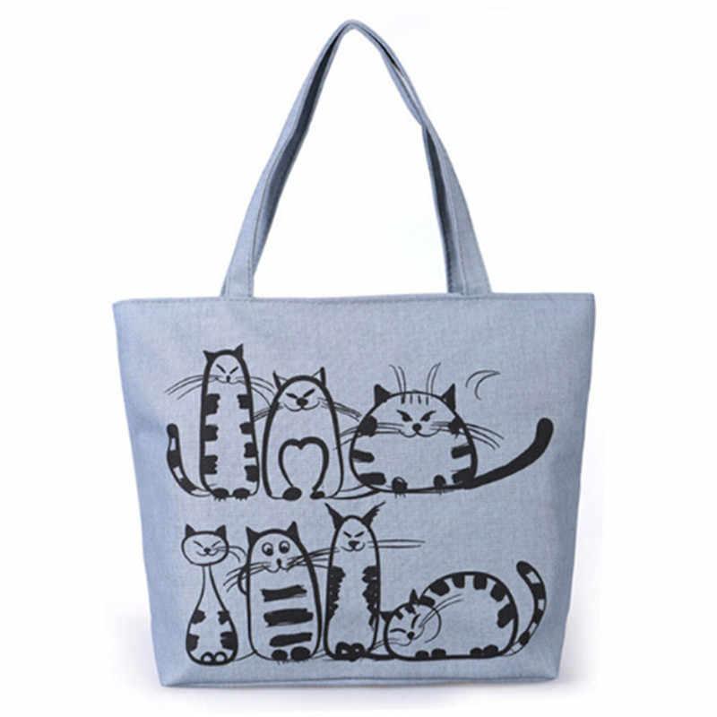 Bolso de compras de lona para mujer, bolso de compras con estampado de gato de dibujos animados, bolso de playa de gran capacidad para mujer, bolso de lona