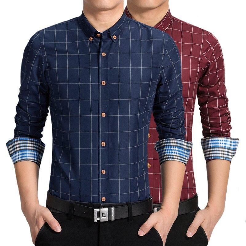 Men Plaid Shirts New Mens Dress Shirts Long Sleeve Slim Casual Black White Social Male Clothes Chemise Cotton Long Sleeve Suitab