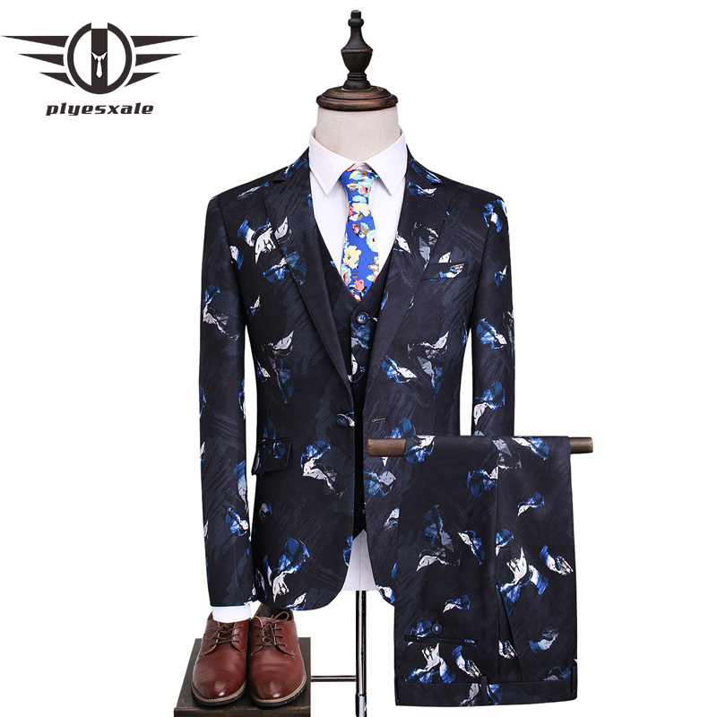 Plyesxale мужской костюм 2018 Slim Fit мужской печатных Костюмы стильный Для мужчин S Костюмы Свадебные Жених дизайнерские выпускного вечера одежда б