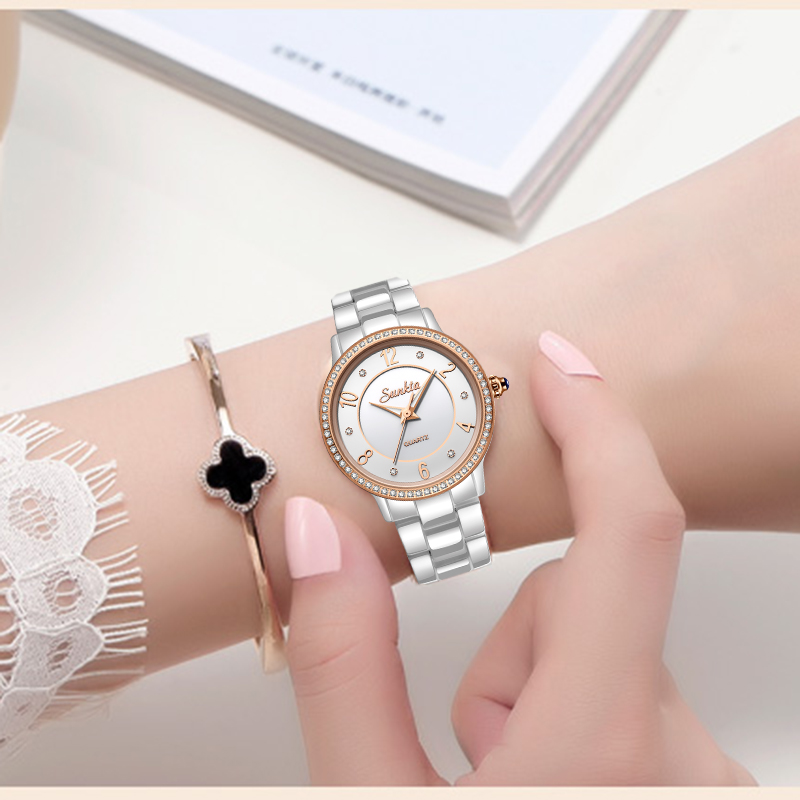 SUNKTA White Ceramic Women Watch Top Brand Luxury Fashion Simple Waterproof Watches Women Bracelet Quartz Watch Relogio Feminino