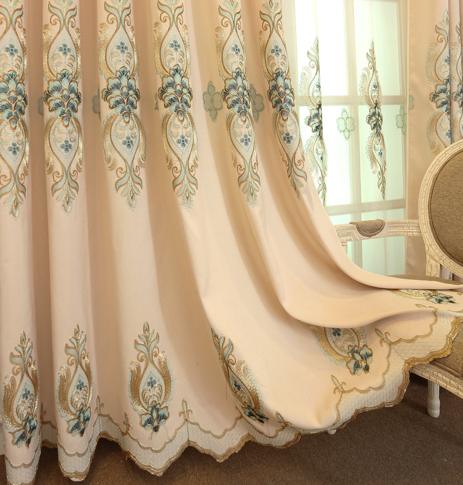 Curtains For Living Room Bedroom Bamboo Cotton Embroidered Curtain Fabric European Style Matte Three Colors