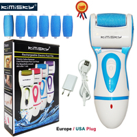 KIMISKY FOOT CARE TOOL Rechargeable Callous PEDICURE Electric Exfoliator Callus Remover Foot file 2 Scholls Roller Head+Gift BOX