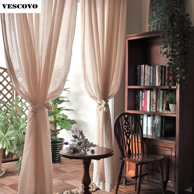 American Country French Finished Curtains Screens Living Room Bedroom Linen Tulle Vertical Stripes