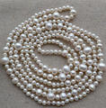Wholesale Pearl Jewelry - 60 Inches Long AA 5-11MM White Color Genuine Freshwater Pearl Necklace Handmade Jewelry.