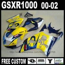 Carenagens da motocicleta para SUZUKI GSXR1000 2000 2001 2002 azul amarelo Corona kit carenagem de plástico 00 01 02 K2 GSXR 1000 aftermarket
