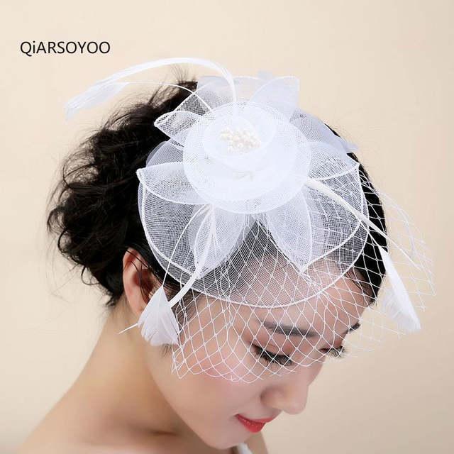 263f5e36876db Online Shop European Vintage Birdcage Veil Fascinator Top Hat For Women  Feather Net Hairpin Ladies Royal Party White Headwear