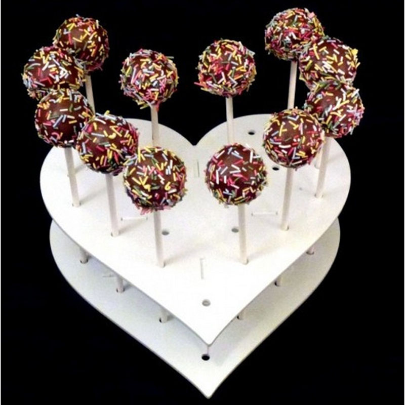15 Holes Acrylic White Heart Display Stand Shape Cake Lollipop Holder Children s Birthday Party Wedding