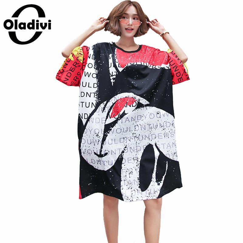 Oladivi Oversized Plus Size Women Fashion Hole Print Summer Dress Ladies Casual Loose Dresses Female Vestidos Feminionos 6XL