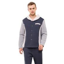 Qianxiu Brand Winter Warm Couples Pajamas Sets polyester Long Sleeve Warm fur collar Male Pyjama Pijama Stitching color pajamas