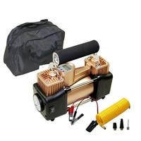 Car Inflatable Pump Digital Pressure Preset 12V Air Compressor Car Tyre Inflator Double Cylinder Metal Car Tire Inflator