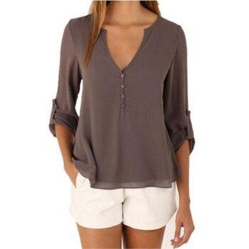 48146df2e Blusas de chifón para mujer, blusa de chifón para dama, elegante, elegante,  suelta, camisetas de chifón, talla grande, S-3XL blusas, mujer de moda ...