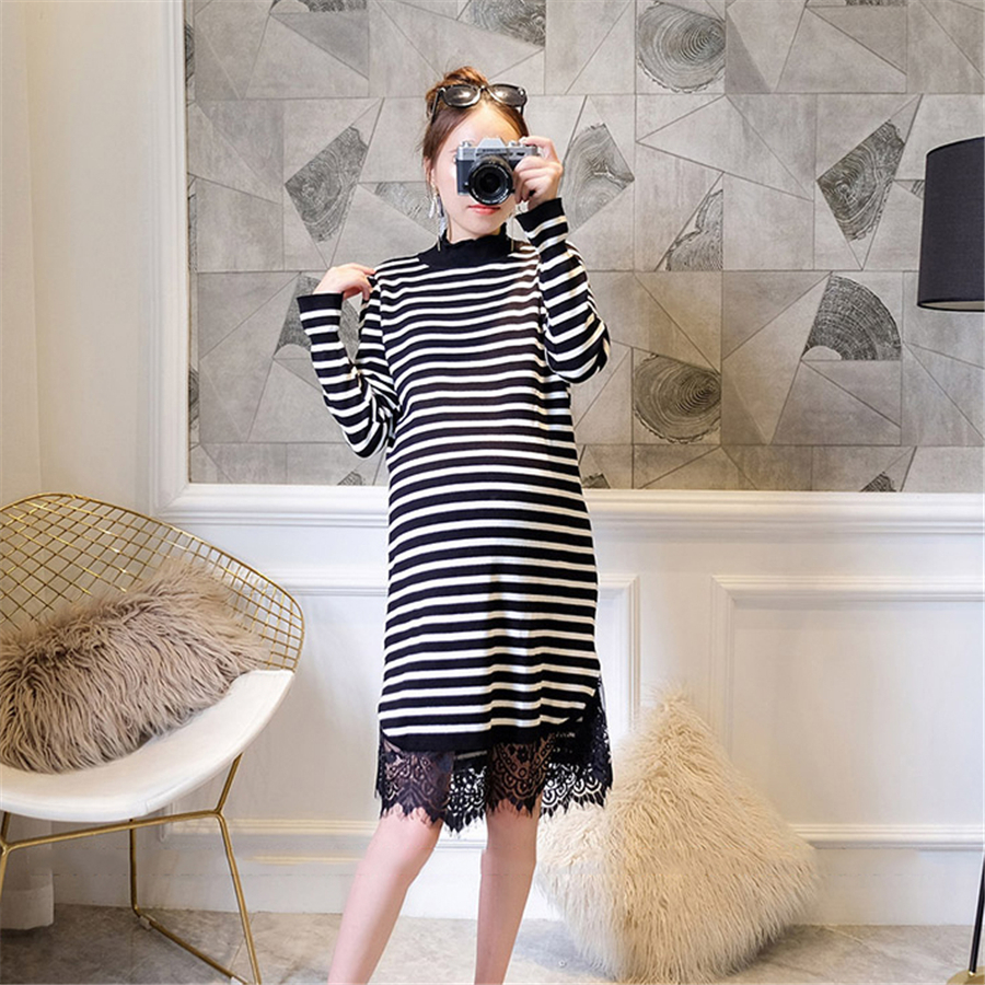 2017 Maternity Dresses High Neck Turtleneck Knitted Maternity Dress Pregnant Women Vesti ...