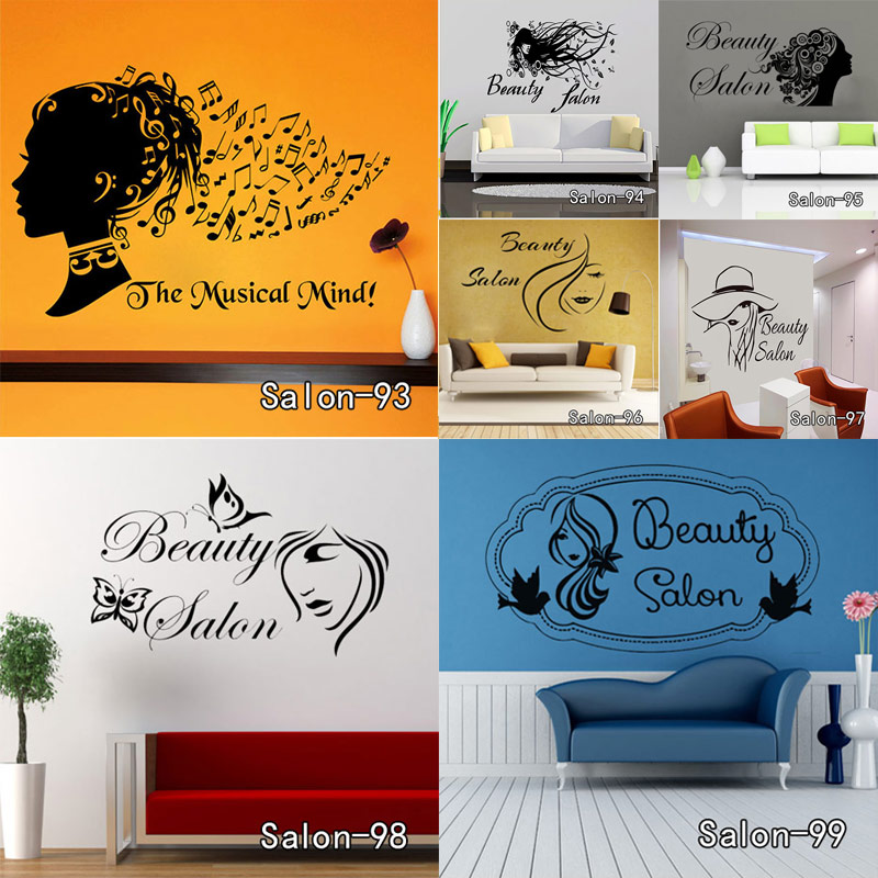 wall sticker nail bar shop hair beauty salon wall art decal diy home decoration mural removable. Black Bedroom Furniture Sets. Home Design Ideas