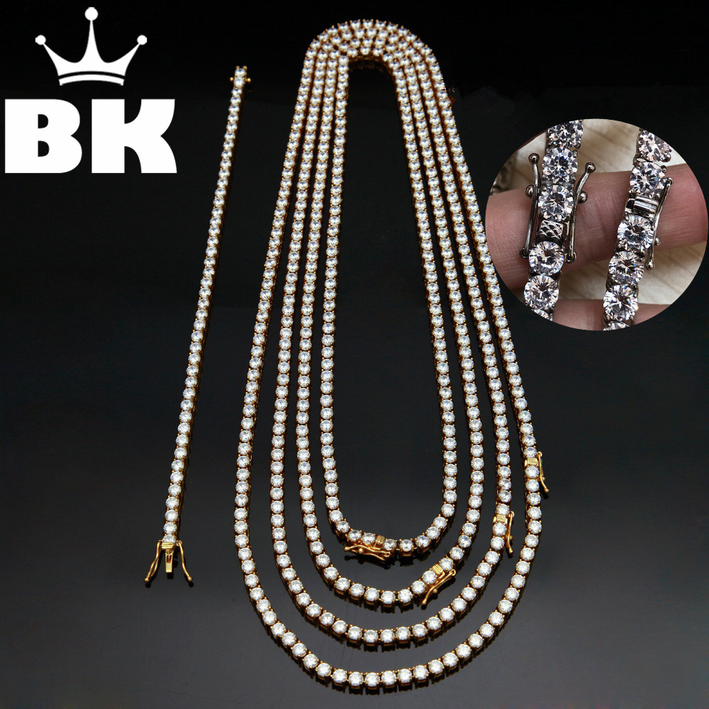 2018 NEVER FADE 4mm/5mm/6mm Stainless Steel 18/20/22/24inch Tennis Chain& 8inch Bracelet Paved Cubic Zircon Hip Hop Mens JEWELRY 2018 never fade stainless steel tennis chain 4mm 5mm 6mm width 18 20 22 24inch micro paved cubic zircon hip hop mens jewelry