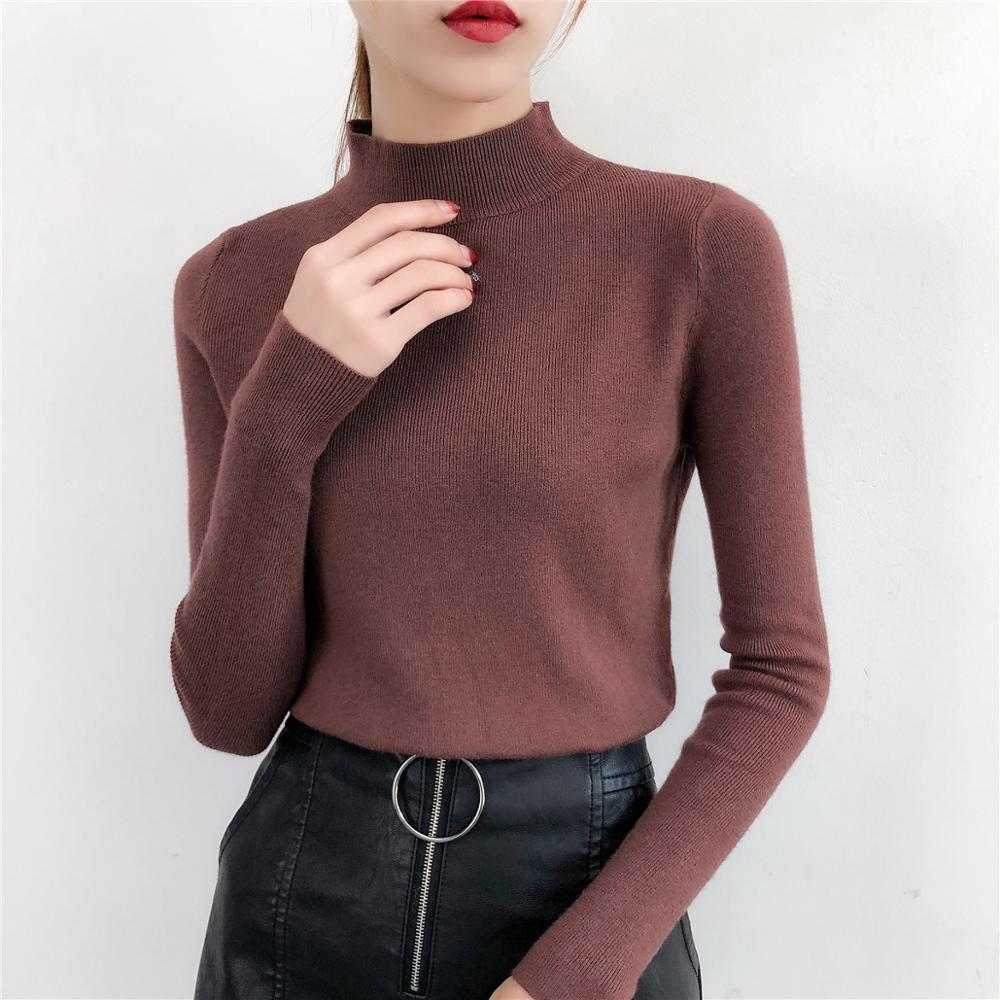 Gkfnmt Sweater Tops Knit Shirt Warm Jumper Pullovers Half-Turtleneck Long-Sleeve Korean