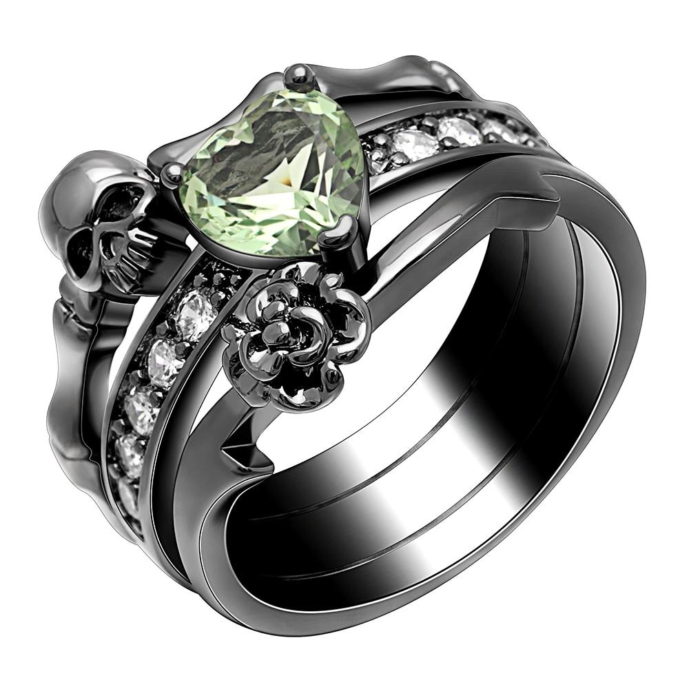 Hainon Gothic Skull Finger Black Female Wedding Rings Set