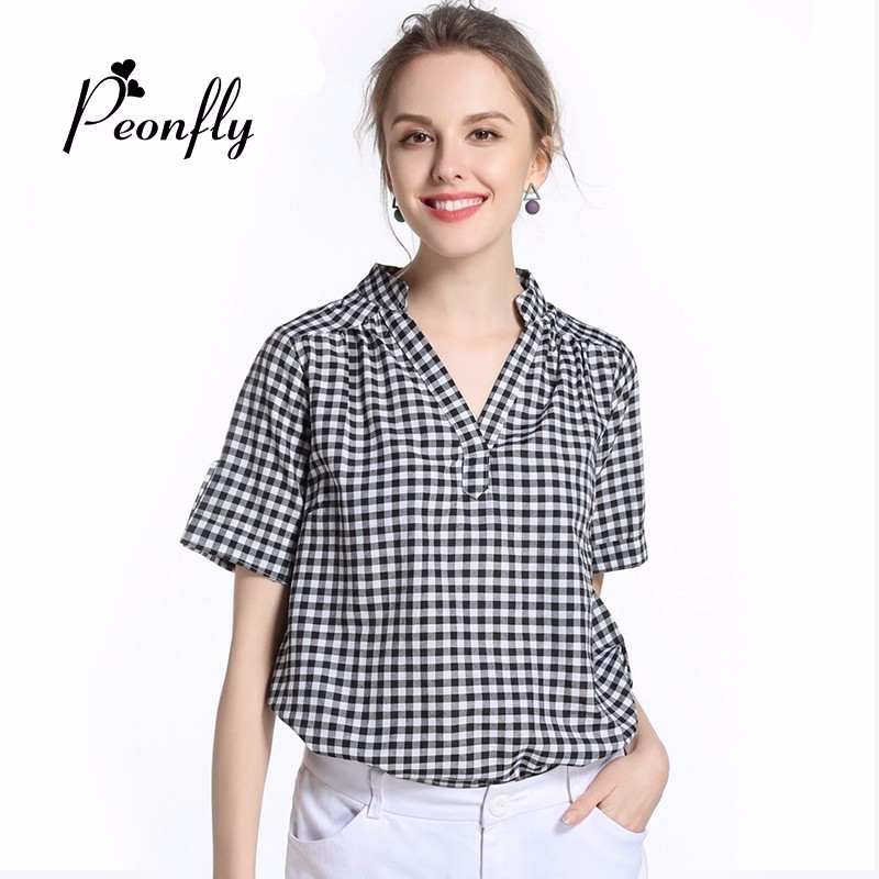PEONFL Y 2018 Plaid Shirt Women Summer Fashion Blouses Femininas Feminine Checked Shirt Women Clothing Chemise Femme